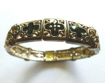 CROSS BRACELET, Silver & Black Cross Bracelet, Black Enamel and Silver Cross Bracelet, Vintage Silver Stretch Bracelet, Cross Jewelry