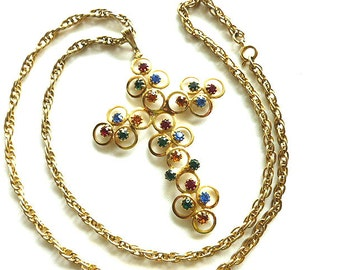 SPARKLY RHINESTONES Goldtone Cross, Openwork Shiny Gold Cross Pendant, Cross & Chunky Long Neck Chain, Cross Necklace, Red Blue Gold Cross