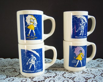 Morton Salt Mugs - Advertising Mugs - Coffee Mugs - Tea Mugs - Vintage Mugs - Blue and White Mugs - Umbrellas - Little Girl with an Umbrella