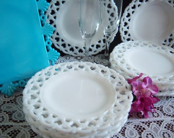 "Milk Glass Plates - 8 Westmoreland Milk Glass ""Forget-Me-Not"" Plates - Vintage Wedding -Lace Edge Milk Glass Plates - Wedding Milk Glass"
