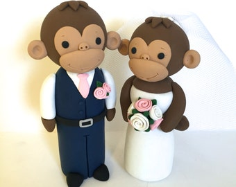 Monkey Wedding Cake Topper - Choose Your Colors