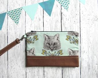 Fox clutch   Blue fox clutch   Woodland clutch   Fox zipper bag