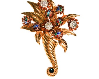 Gilt Rhinestone Bouquet Brooch, Colorful, Large, Bold, Designer Vintage Jewelry, 1940s