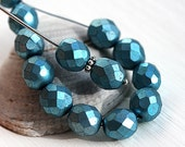Metallic Blue beads, 8mm Czech round beads, fire polished, faceted beads - 15Pc - 2743
