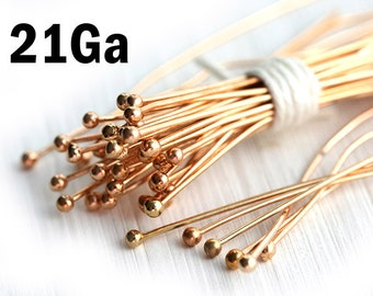 100 Rose Gold Plated Ball Pin, 2 inch, 21Ga wire, Brass headpins for jewelry making, 50mm length - F423
