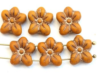 Two Hole flower beads, Mustard Yellow czech glass Five petal flower, Old Patina Inlays, 2 hole - 6pc - 14mm - 2050