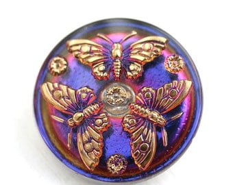 27mm Golden Butterfly Czech Glass Button, Vitrail Purple and Gold, Handmade Button bead, size 12, 1pc - 2560