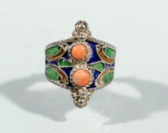 Vintage 50s Berber Coral Ring Enamel Ring Silver Plate Ring Morocan Ring Size Ring 9.25 US