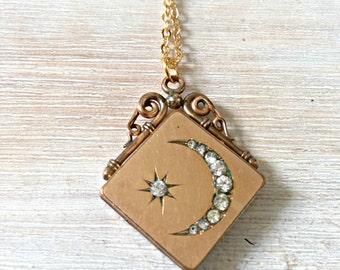Antique Victorian Gold Filled Moon & Star Locket