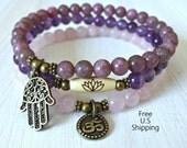 Yoga set of 3, Amethyst, Lepidlite, Rose Quartz, mala bracelet, Meditation mala set, Namaste bracelet,om bracelet, Lotus Bracelet. Hamsa