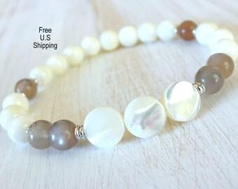 Mother of Pearl, Silver Moonstone,  gemstone bracelet, calming, Yoga Bracelet, Meditation bracelet, Reiki, mala, Moonstone bracelet, ocean