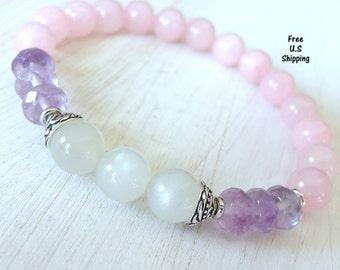 Fine quality Amethyst and Moonstone, Rose Quartz, healing bracelet, calming, Yoga Bracelet, Meditation bracelet, Reiki, mala, Moonstone mala