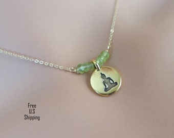 Buddha Necklace, Peridot, 14kt gold filled necklace, Peridot Necklace, Gold filled, Dainty jewelry, Yoga necklace, Buddhist necklace