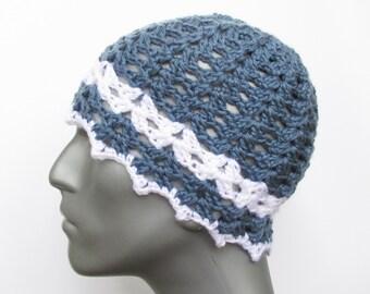 Crochet Dark Blue Hat with White Stripe and Edging