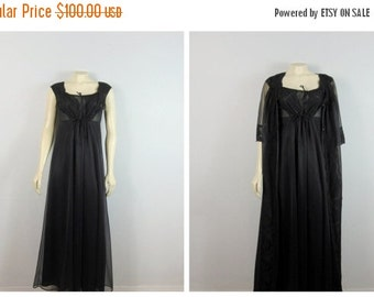 40% Off SALE Vintage Nightgown & Peignior Set 60s Mad Men Black Chiffon Negligee and Robe Set Shadowline Modern Medium