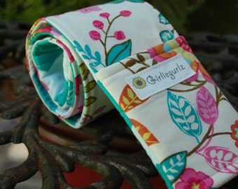 Camera Strap Cover, 25% off with coupon code, reversible, dslr or SLR, lens cap pockets, padding - Garden Flowers and Teal Chevron