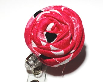 Hot Pink Flower Nurse Badge Reel flower badge holder Rosette Name Badge Reel Retractable badge holder swivel alligator clip badge reel