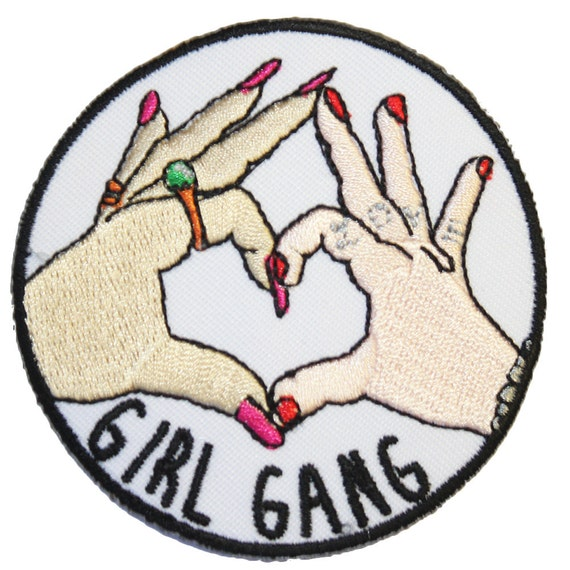 Girl Gang Iron On Patch Embroidery Sewing DIY Customise Denim Cotton Feminist Cute Riot Grrrl Punk Heart Hands