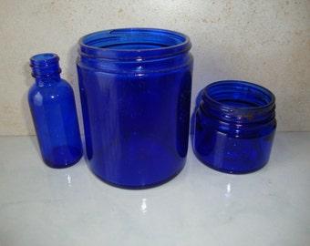 Vintage Cobalt Blue Bottles Jars Set of 3 Collection