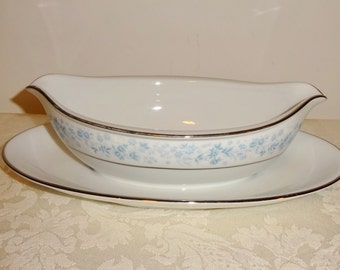 Vintage China Gravy Boat Royal Prestige Blue Ridge Japan Attached Underplate