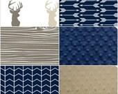 Custom Listing- Navy Tan Multi Buck, Tan Woodgrain Grain, Navy Chevron, Navy Arrows Crib Bedding