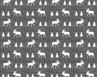 Moose Contour Changing Pad Cover - Woodland, Moose, Pine Tree, Charcoal