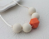 Teething Necklace - Silicone Nursing Necklace - Silicone Necklace - Cream and Orange - Teething Necklace For Mom - BPA Free - Teething Baby