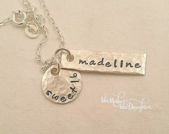 Personalized Necklace - Sweet 16 Jewelry - Sterling Silver Necklace - Personalized Hand Stamped Necklace
