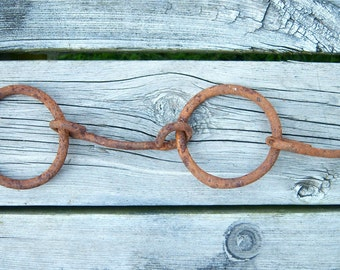 Old Rustic hand forged metal Harness part tack Horse Team Evener whippletree part Industrial Farmhouse rusty metal salvage