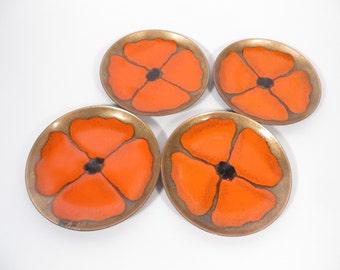 Set of 4 Vintage Orange Poppy Lacquer Metal Coasters