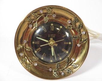Mid Century Goldtone and Rhinestones Alarm Clock - W. L. Gilbert Electric Alarm Clock