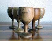 Vintage Myrtlewood Wine Glasses - Set of 6 - Midcentury Myrtlewood