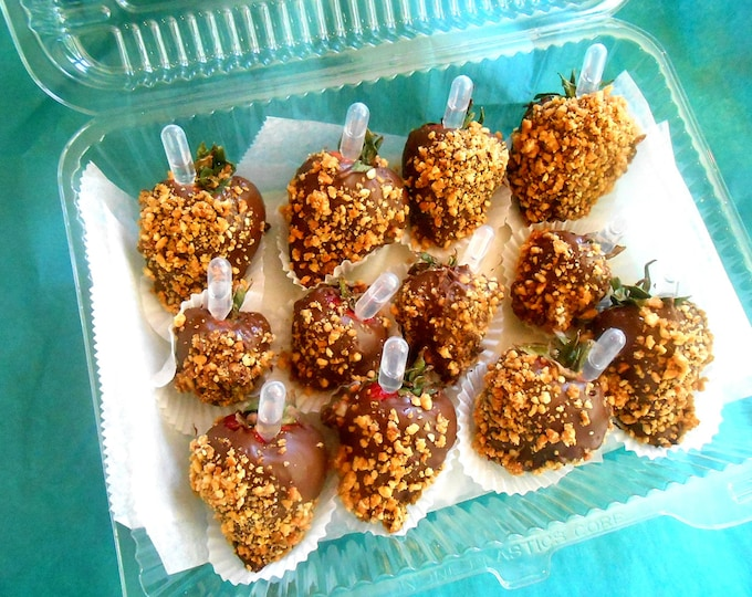 Alcohol Infused, Organic, Fresh, Chocolate Covered Strawberries, Paleo, Gluten Free,  Pipettes, Snack 12 Large