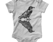 Baby Dual Raven Romper - Infant One Piece, Creeper - NB 6m 12m 18m 24m - Bird, Crow, Animal, Horror, Scary - 3 Colors