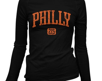 Women's Philly 215 Long Sleeve Tee - LS Ladies T-shirt - S M L XL 2x - Philadelphia Shirt - 4 Colors