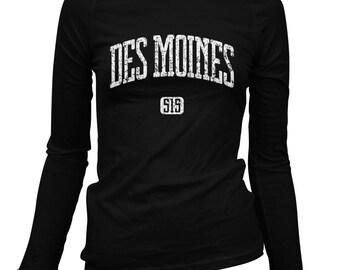 Women's Des Moines 515 Long Sleeve Tee - S M L XL 2x - Ladies' Des Moines T-shirt, Iowa - 3 Colors