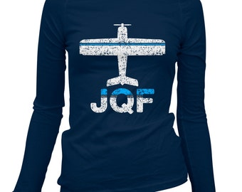 Women's Fly Concord NC Long Sleeve Tee - JQF Airport - S M L XL 2x - Ladies' Concord T-shirt, Charlotte, North Carolina - 2 Colors