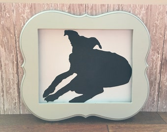 Custom pet silhouette, personalization available! Wall art, silhouette, card stock