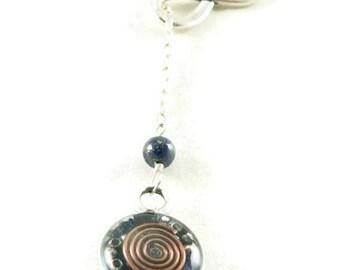 Orgone Energy Infinity Lariat Necklace in Antique Silver Finish with Lapis Lazuli Gemstone - Orgone Energy Necklace - Dainty Necklace