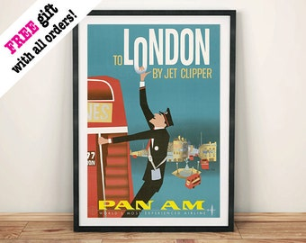 LONDON BUS POSTER: Vintage Airline Clipper Advert, Art Print Wall Hanging