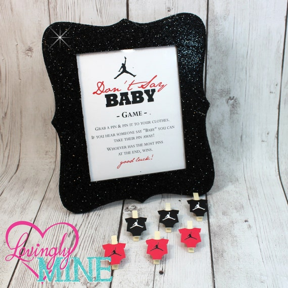 don 39 t say baby game jordan jumpman inspired baby shower game sign