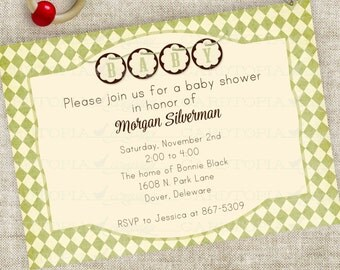 Banner Baby Shower Invitation Boy or Girl Gender Neutral Green Harlequin Diamonds Digital Printable Personalized