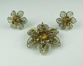 Vintage yellow rhinestone brooch and screw on earrings