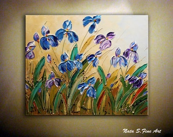 "Wild Irises ORIGINAL Painting Abstract Textured Iris on Canvas Palette Knife Contemporary Floral Art Modern Wall Decor 20"" x 24"" by Nata S."