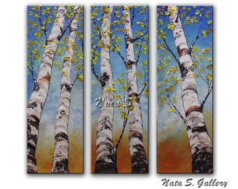 "Birch Tree Painting Triptych Birch Painting Original Art Palette Knife Home Office Decor Interior Decor Large Artwork 36"" x 36"" by Nata S."