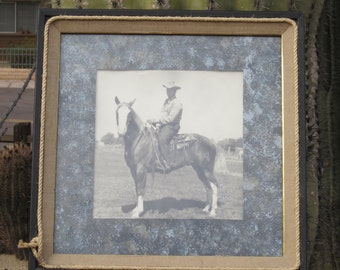 Signed Cowboy Sheriff Campaign Framed Photo On Horseback 1947