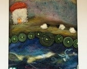 RESERVED FOR SIMON - ooak Needle felted, Little House By The Sea - original needle art