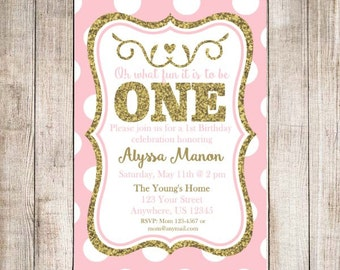 Pink Gold Glitter 1st First Birthday Girl Invitation - YOU PRINT