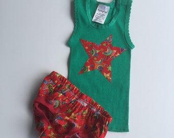 Christmas singlet and nappy cover set size 000 0 - 3 months baby outfit