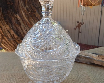 Lead Crystal Footed Compote with Lid  ~  Lead Crystal Candy Dish  ~  Lidded Lead Crystal Dish